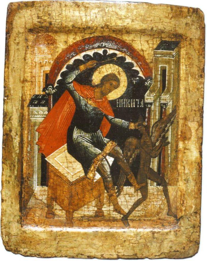 Ο Άγιος Νικήτας ετοιμάζεται να χτυπήσει το Σατανά με ένα ραβδί.
