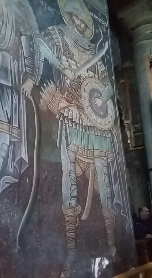 Ο Άγιος Μερκούριος σε θέση φύλαξης της ανάστροφης ασπίδας. Από την Ιερά Μονή της Μεγίστης Λαύρας του Αγίου Όρους.